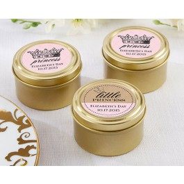 Prince or Princess Personalized Gold Candy Tin (set of 12)