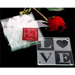LOVE Glass Coasters Gift Set (Set of 4)