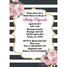 Personalized Kate Spade inspired Black & White Stripe Bridal Shower Invitation