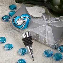 Stunning Murano Heart Glass Bottle Stoppers