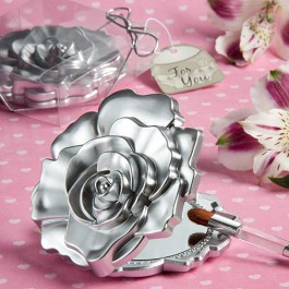 Silver Rose Compact Mirror