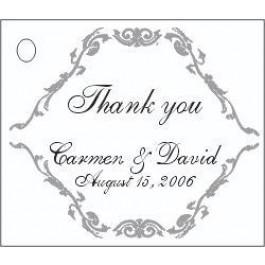 Scroll Design Favor Card (Silver, Gold, or Black)