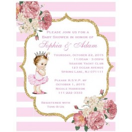 Little Princess Baby Shower Invitations(Caucasian/African American) (5x7)
