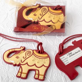 ADORABLE RUBY RED AND CREAM ELEPHANT LUGGAGE TAG