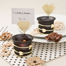 Heart / Love Themed Candle Votive Holder with Placecard or Photo Holder