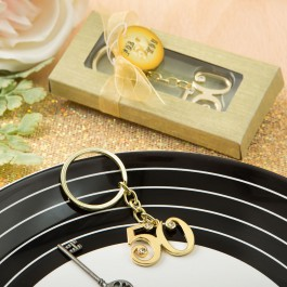 50TH ANNIVERSARY DESIGN GOLD METAL KEY CHAIN