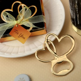 METAL DOUBLE HEART BOTTLE OPENER WITH GOLD FINISH