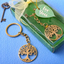 GOLD TREE OF LIFE AND FAMILY KEY CHAIN