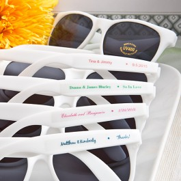 White Retro Personalized Sunglasses