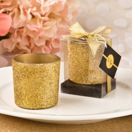 Bling Collection Gold or Silver Glitter Candle Votive