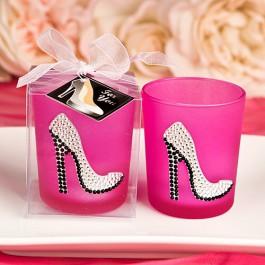Sparkly High Heel Shoe On Hot Pink Votive Candle Holder