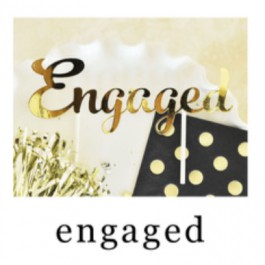"Gold ""Engaged"" Cake Topper"
