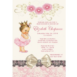 Vintage Little Princess Personalized Invitations (Caucasian or African American)