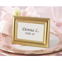 Beaded Design Gold Metal Place Card/Photo Frames