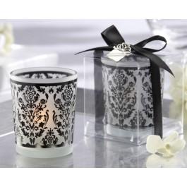 Elegant Damask Frosted Tealight Holders (set of four)