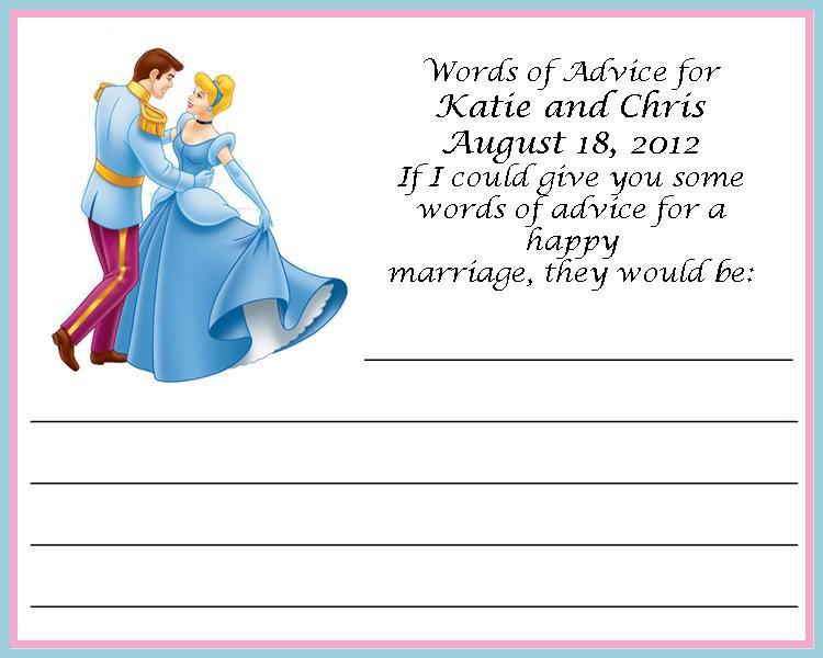 Cinderella Wedding Advice Card