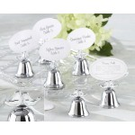 &quot;Lovebirds&quot; Silver-Finish Kissing Bell Place Card Holder (Set of 24)
