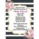 Personalized Kate Spade inspired Black & White Stripe Bridal Shower Invitation