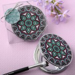 MANDALA THEMED LEATHERETTE COMPACT MIRROR