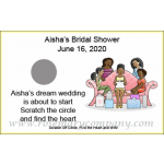 Personalized African American Bridal Shower Scratch &amp; Win Game (Girl's Party Design)