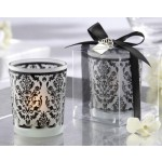 Elegant Damask Frosted Tealight Holders (set of four)