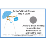 Personalized African American Bridal Shower Scratch &amp; Win Game (Umbrella Design)