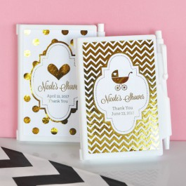 Personalized Metallic Foil Notebook Baby Shower Favors