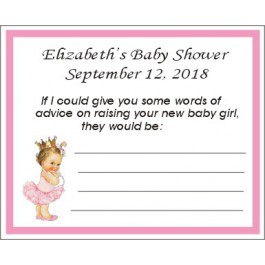 Vintage Little Princess Baby Shower Advice Card (Caucasian or African American)