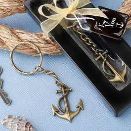 ANCHOR THEMED BRASS COLOR METAL KEY CHAIN