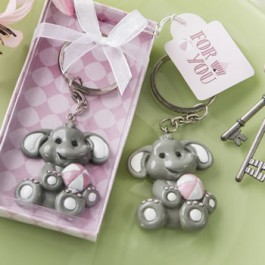 PINK OR BLUE BABY ELEPHANT KEY CHAIN