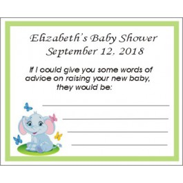 Personalized Little Peanut Elephant Baby Shower Advice Card (3 Colors)
