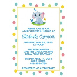 Personalized Little Peanut Baby Elephant Invitation(3 Colors) Size 5x7
