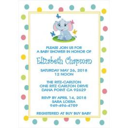 Personalized Little Peanut Baby Elephant Invitation(3 Colors) Size 5x7