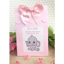 Personalized Little Peanut Baby Girl Baby Shower Boxes With Bows (set of 12)