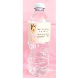 Vintage Little Princess Personalized Water Bottle Labels (Caucasian or African American)