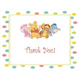 Winnie the Baby Pooh and Friends Baby Shower Thank You Cards