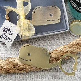 FUN WHALE THEMED BRASS FINISHED METAL BOTTLE OPENER