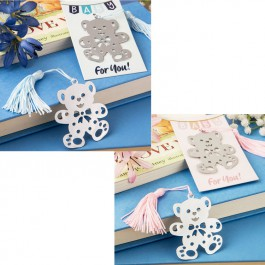 PINK OR BLUE TEDDY BEAR DESIGN BOOKMARK