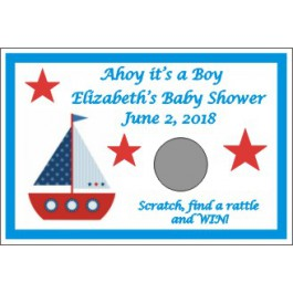 Nautical Theme Personalized Baby Shower Scratch Off Game (Set of 12)