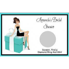 Bride to Be On A Tiffany Box design personalized Scratch Off Game (Caucasian or AA)