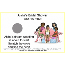 Personalized African American Bridal Shower Scratch & Win Game (Girl's Party Design)