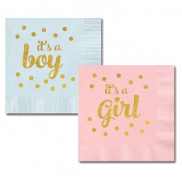 Metallic Gold It's A Boy/Girl Napkins (pkg of 24)