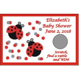 Lady Bug Personalized Scratch Off Baby Shower game