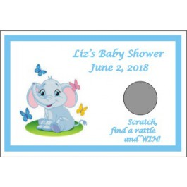Personalized Little Peanut Baby Elephant Scratch off Game (3 Colors)