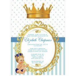 Vintage Little Prince Personalized Baby Shower Invitations (Caucasian or African American)