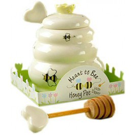 """Meant to Bee"" Ceramic Honey Pot with Wooden Dipper"