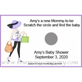 Personalized Baby Shower Scratch & Win Game  -Mommy to Be - African American - Caucasian