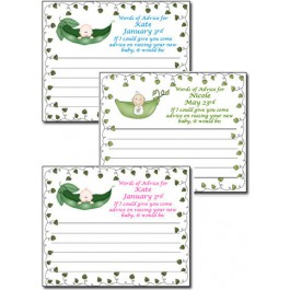 Personalized Pea in a Pod Baby Shower Advice Cards