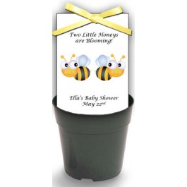 Personalized TWINS! Baby Shower Wildflower Seeds & Flowerpot Set