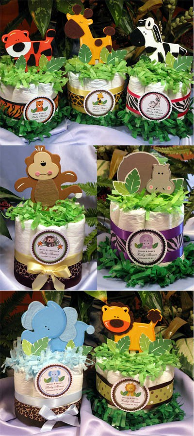 Safari Diaper Cake Centerpiece Jungle Safari Diaper Cake